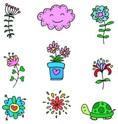 Art spring colorful item doodles vector