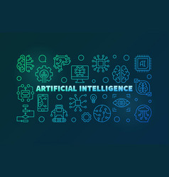 Artificial intelligence colorful outline vector