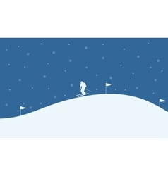 At night people ski scenery Christmas vector
