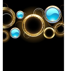 Background with golden rings vector