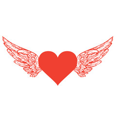 banner with red flying heart with white wings vector image