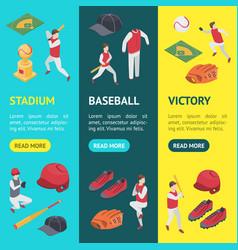 baseball game sport signs 3d banner vecrtical set vector image