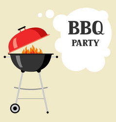 bbq party background with grill and fire vector image
