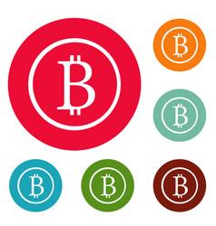 bitcoin sign icons circle set vector image