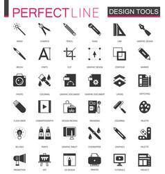 black classic graphic design tools icons set vector image