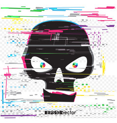 black glitch hacker skull vector image