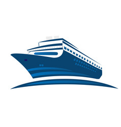 blue cruise ship symbol logo vector image