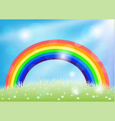 bright rainbow in blue sky vector image