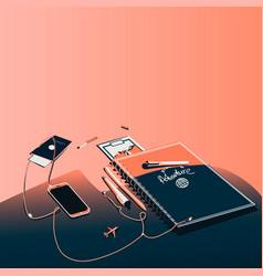 Business desktop workspace with notebook mobile vector