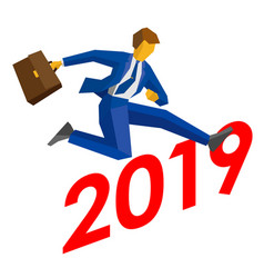 Businessman jump over number 2019 vector