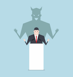 businessman talking on podium with shadow of devil vector image