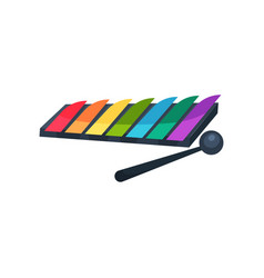 Cartoon icon of xylophone with colorful keys and vector