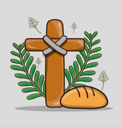 Catholic cross with palm branches and bread vector