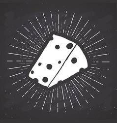cheese vintage label hand drawn sketch grunge vector image