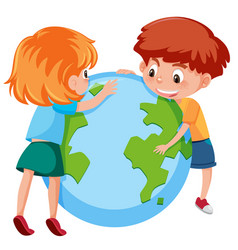 Children and planet earth vector