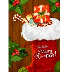 Christmas sock with gift on wooden background vector