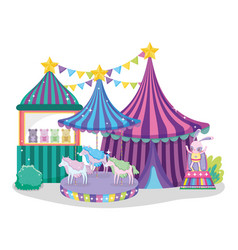 Circus big top with toys store and electric vector