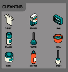 cleaning color outline isometric icons vector image