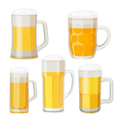 collection of beer mugs with handles isolated on vector image