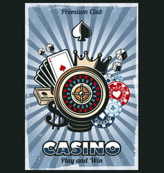 colored vintage gambling poster vector image