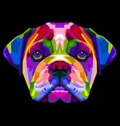 Colorful english bulldog on pop art style vector