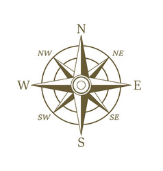 Compass icon in sepia color wind rose vector