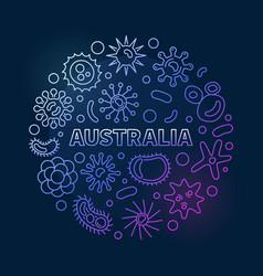 Coronavirus in australia round line colored vector