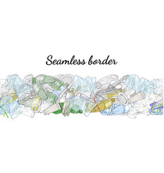 Different kinds of plastic garbage seamless vector