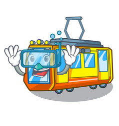 Diving electric train isolated with cartoon vector
