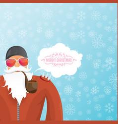 Dj santa claus with smoking pipe santa vector
