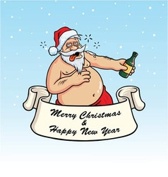 Drunk Santa Claus Drinking Booze Christmas Card vector