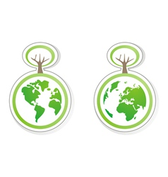 Ecology icons with planet earth both globe vector