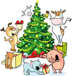 farm animals celebrate Christmas under the tree vector image