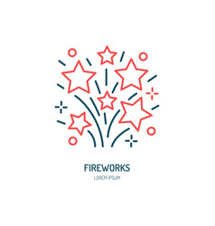 Fireworks line icon logo for event service vector