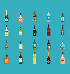 flat bottle with alcohol icon set vector image