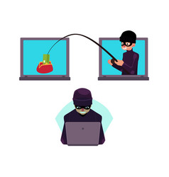 Flat hacker stealing money set vector