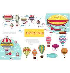 flat hot air balloons composition vector image