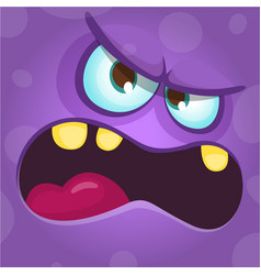 Funny angry cartoon monster face vector