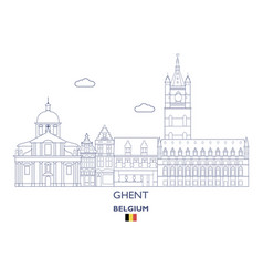 Ghent city skyline vector