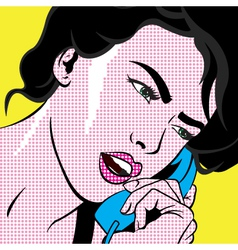 Girl with phone pop art vector