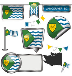 Glossy icons with flag of vancouver bc vector