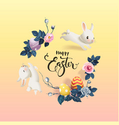 happy easter inscription surrounded decorated vector image
