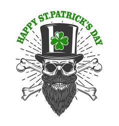 Happy saint patrick day irish leprechaun skull vector