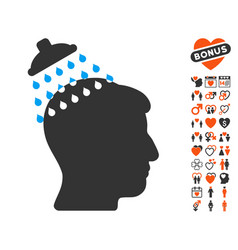 Head shower icon with love bonus vector