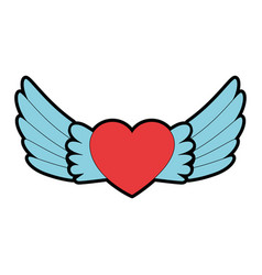 Heart with wings flying vector