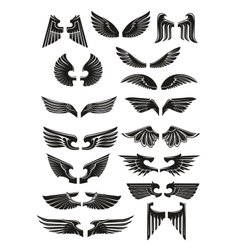 Heraldic black wings icons set vector