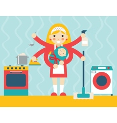 Housewife symbol with child and accessories icons vector image vector image