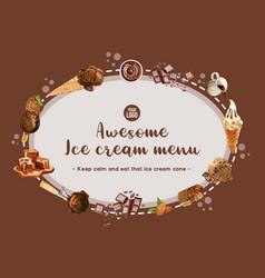 Ice cream wreath design with chocolate watercolor vector