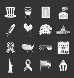 Independence day flag icons set grey vector