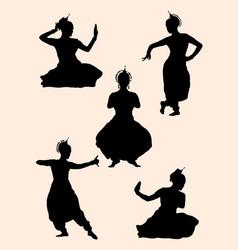 Indian dancer silhouette 02 vector